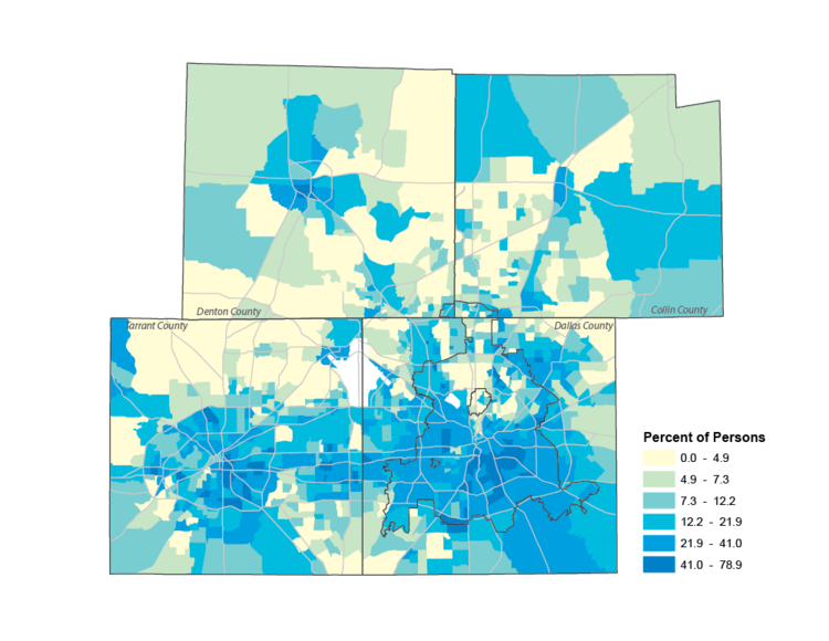 Poverty by Census Tracts in North Texas