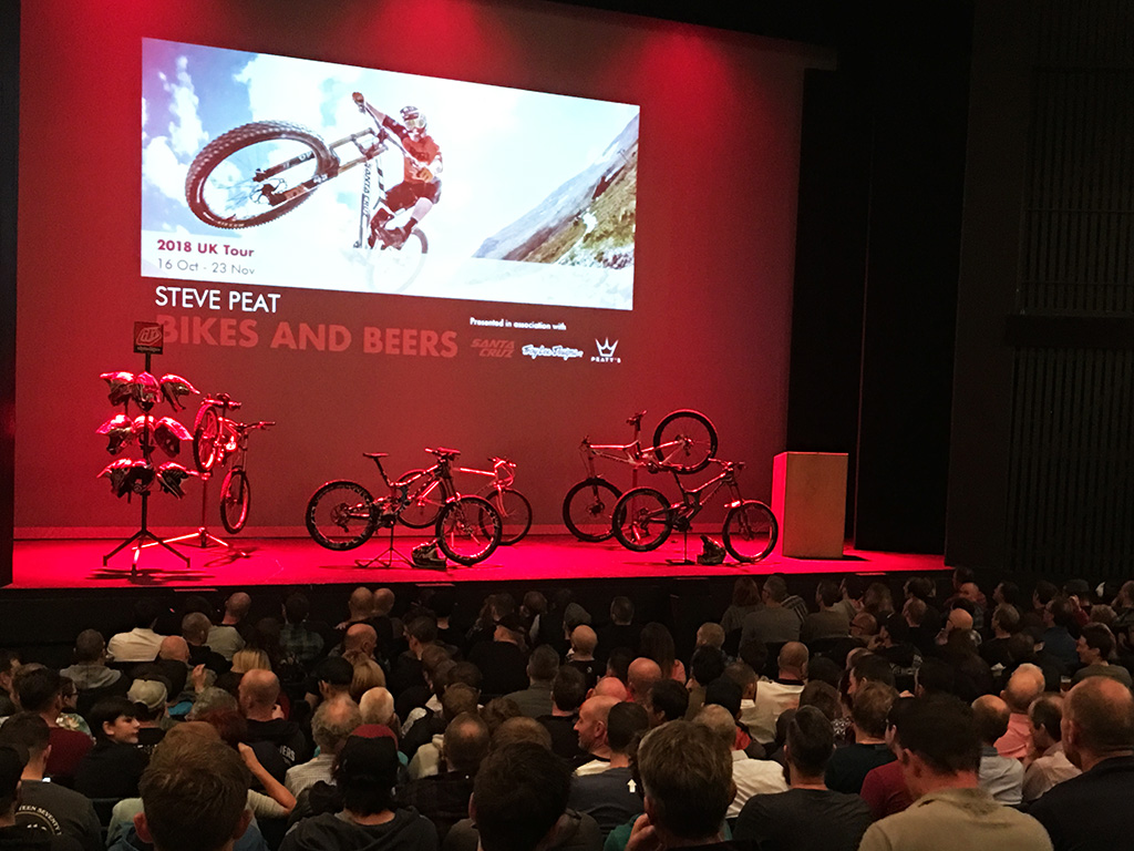 The 'Bikes and Beers' on-stage display of Peaty's winning Santa Cruz bikes