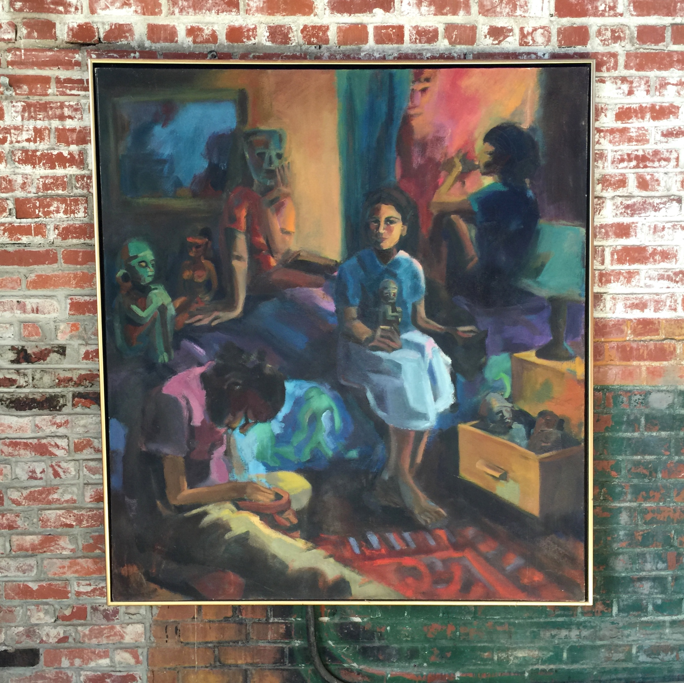 "A. Burgos, oil on canvas, 54""x60"", 1998."