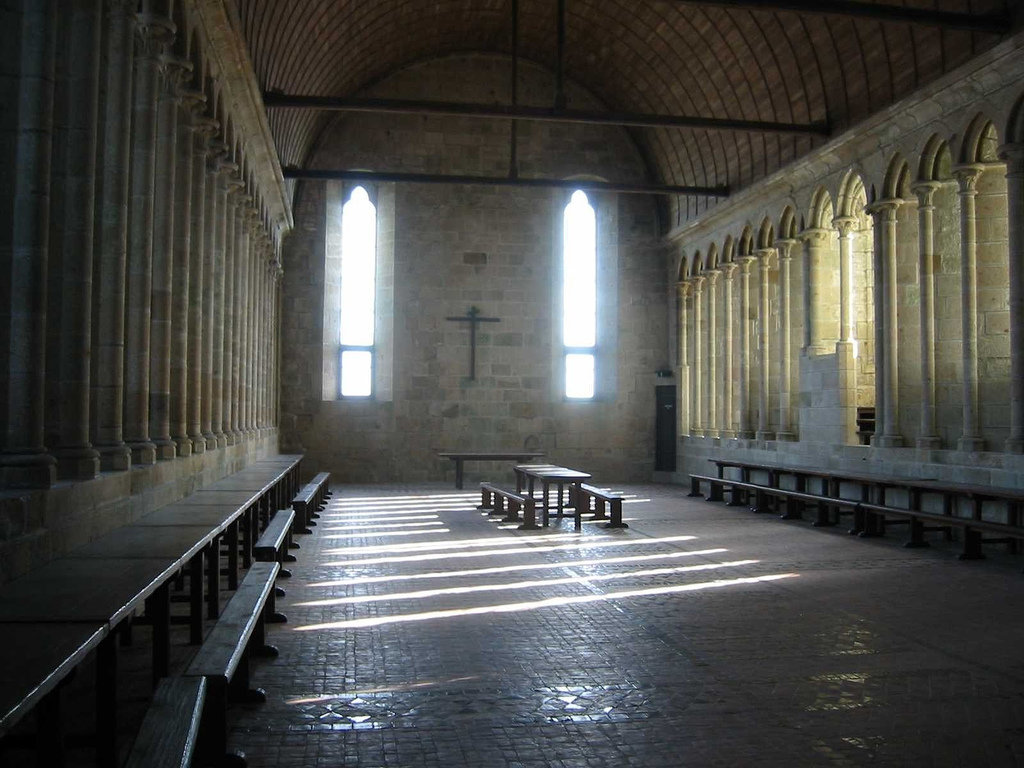 Refectory of the Mont Saint Michel Abbey, built between the tenth and sixteenth century, in France. Photo courtesy of  John Dalkin .