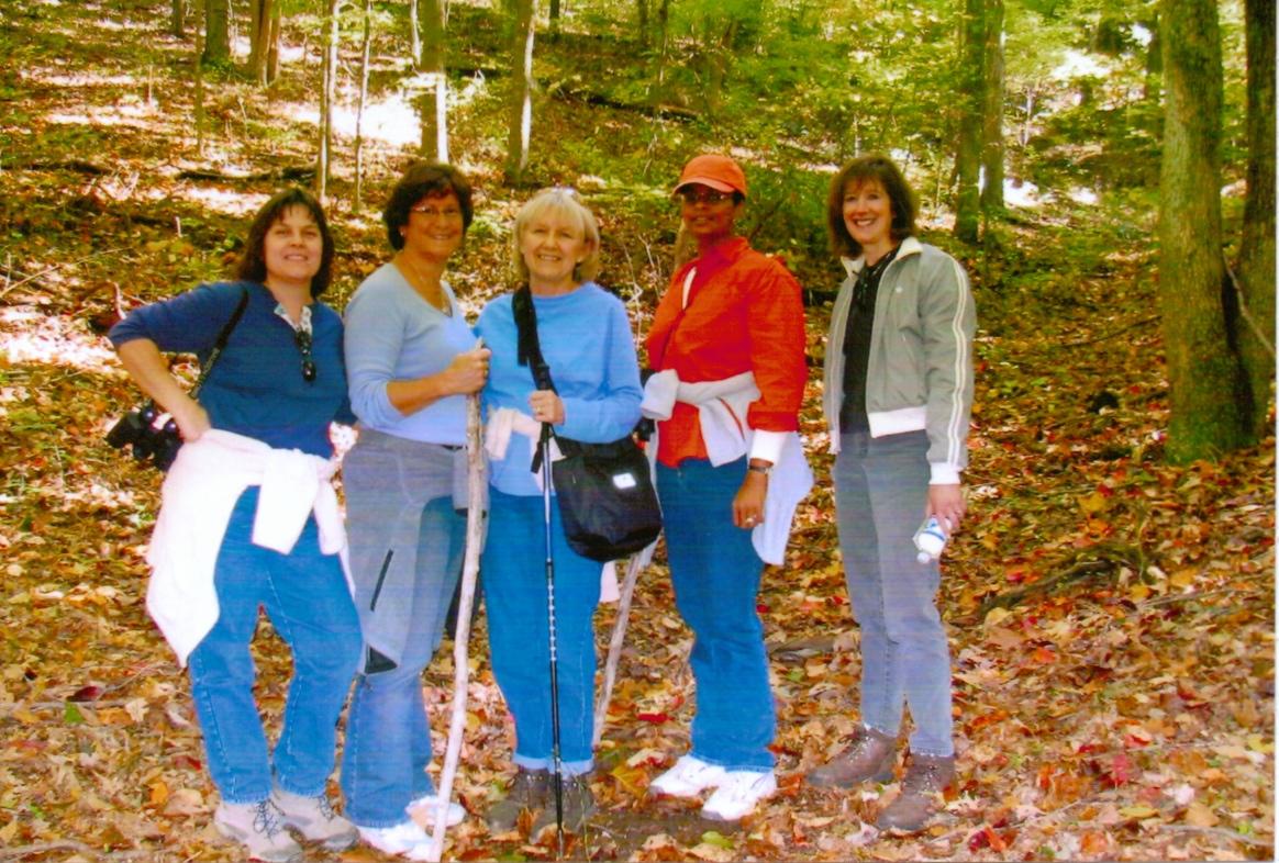 Brenda, Maria, Jan, Robin, Penny at Prairie Pond Woods 2006