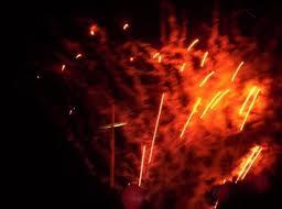 cross & fireworks