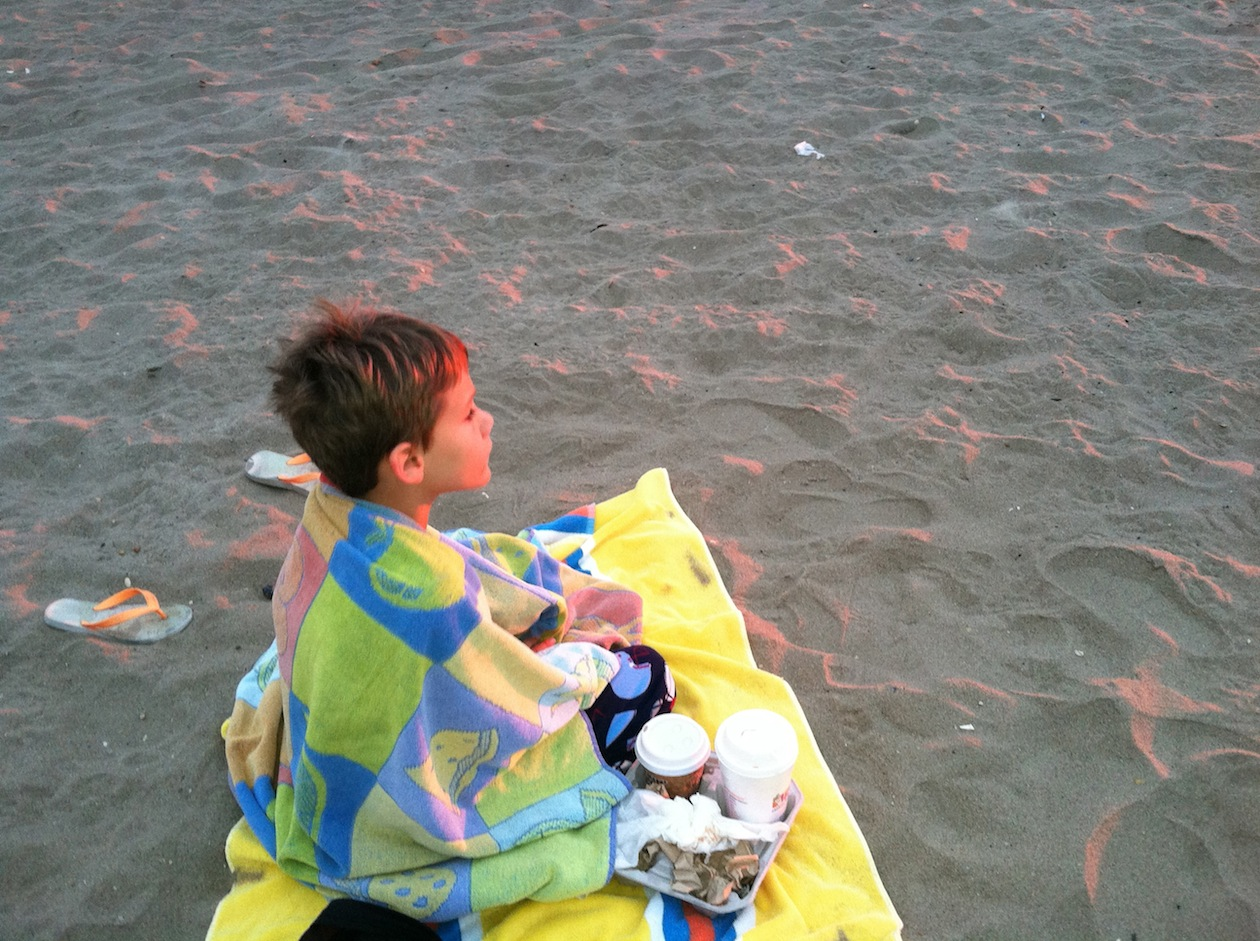 Kaden watching sunrise