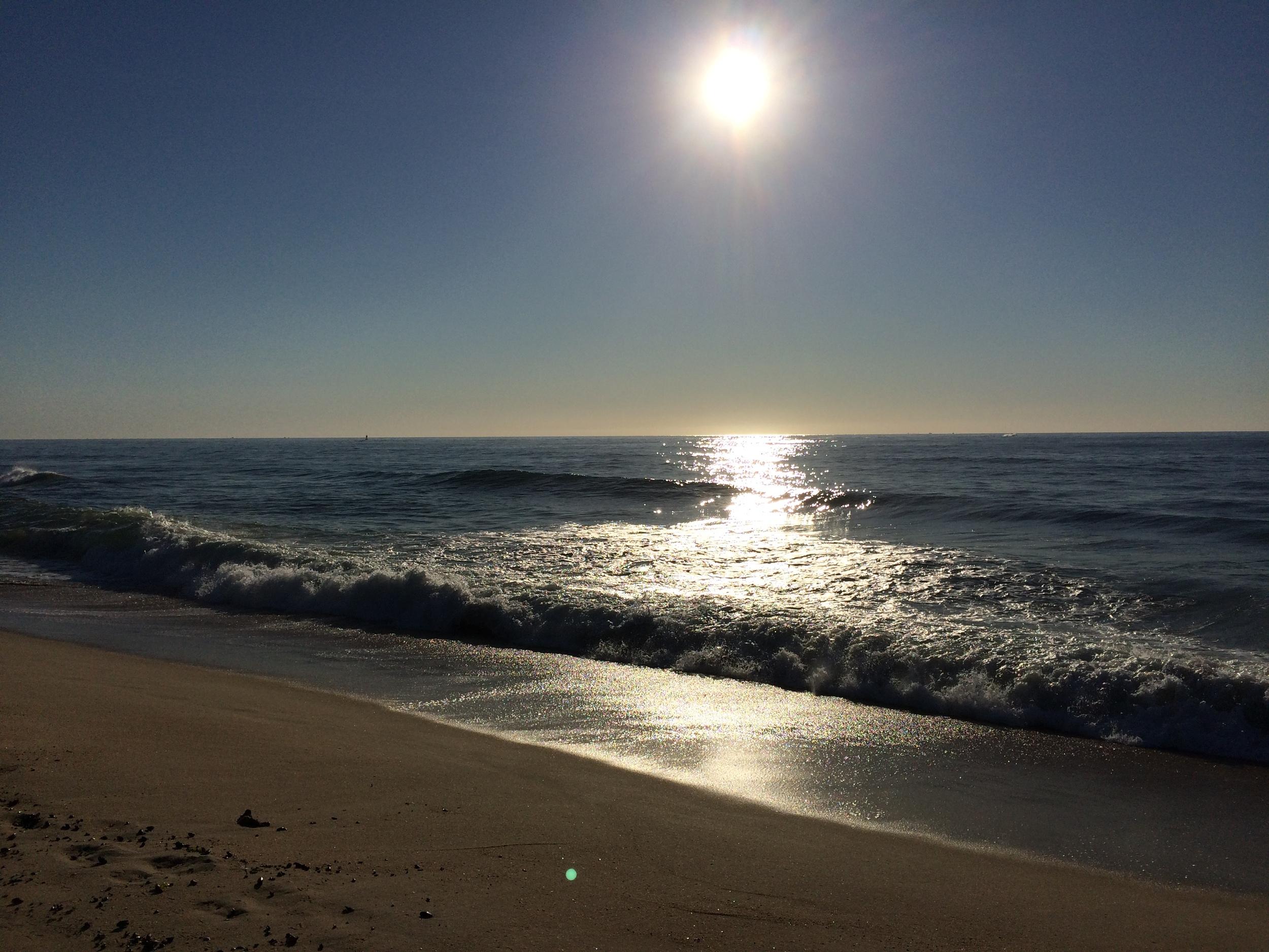 a silvery beach