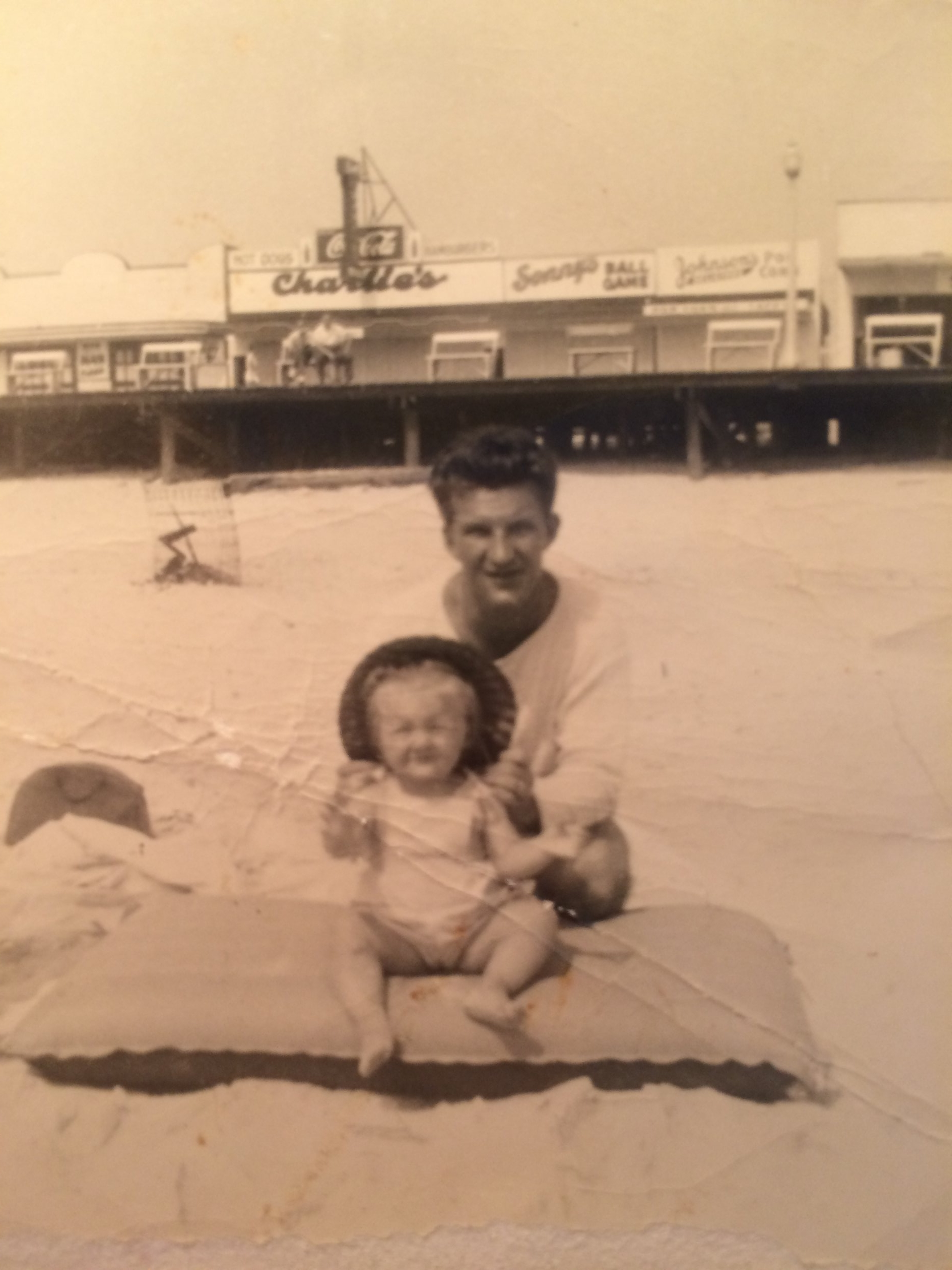 dad & baby me on the beach