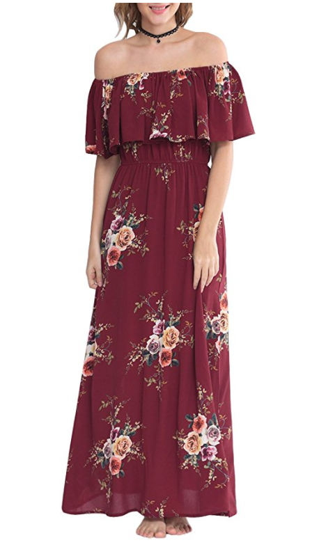 red burgundy off shoulder maxi dress