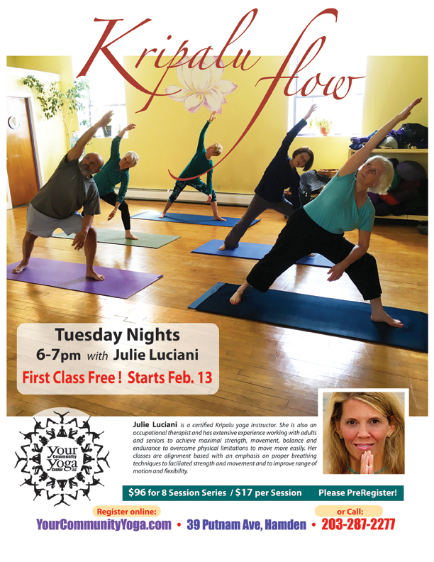 Kripalu Flow Yoga with Julie begins, and the First Class is Free!