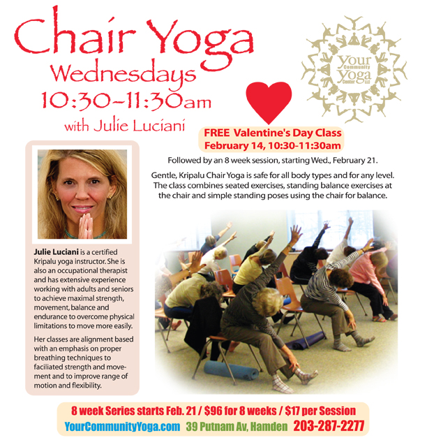 Chair Yoga with Julie starts today and the First Class is FREE!