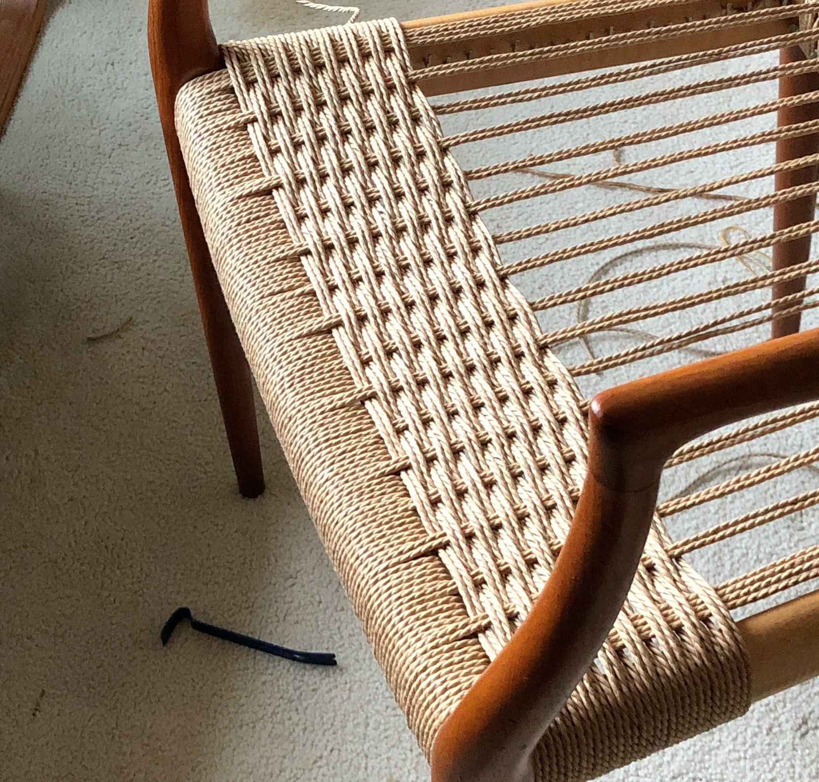 Half done Niels Otto Møller chair. Look at those beautiful curves!  😍