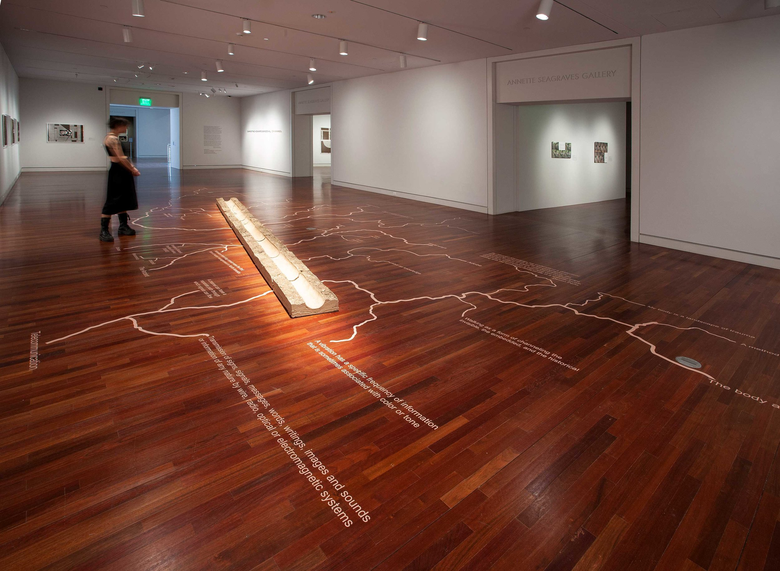 Channel- A Cartography of Thirst,   2019, Adobe earth and vinyl, 20' W X 36' L  Installation view for CHANNEL, Colorado Springs Fine Art Center , 2019  Photo by Scott Bauer