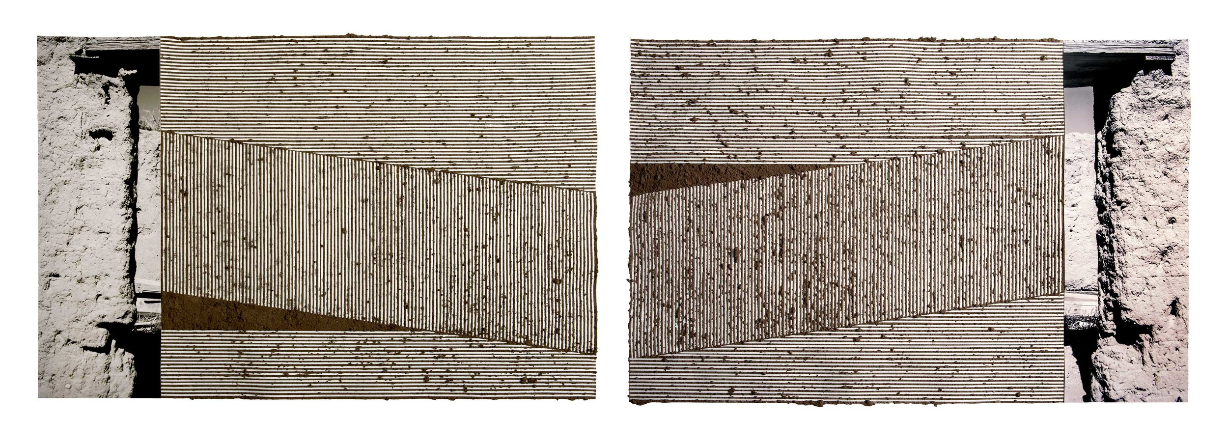 "I Am You / Or You Are Me     (diptych), 2018  Handmade adobe, inkjet print on Hahnemühle paper, and graphite on paper, 40""W X 26"" T each  Photo by Scott Bauer"