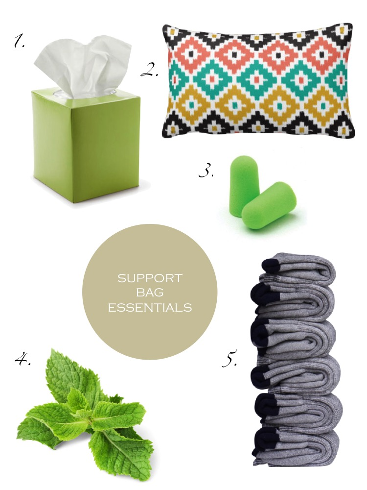 1. Tissue (hospitals don't supply... at all!), 2. Pillow, 3. Earplugs, 4. Breath mints, 5. Extra socks (and underwear)