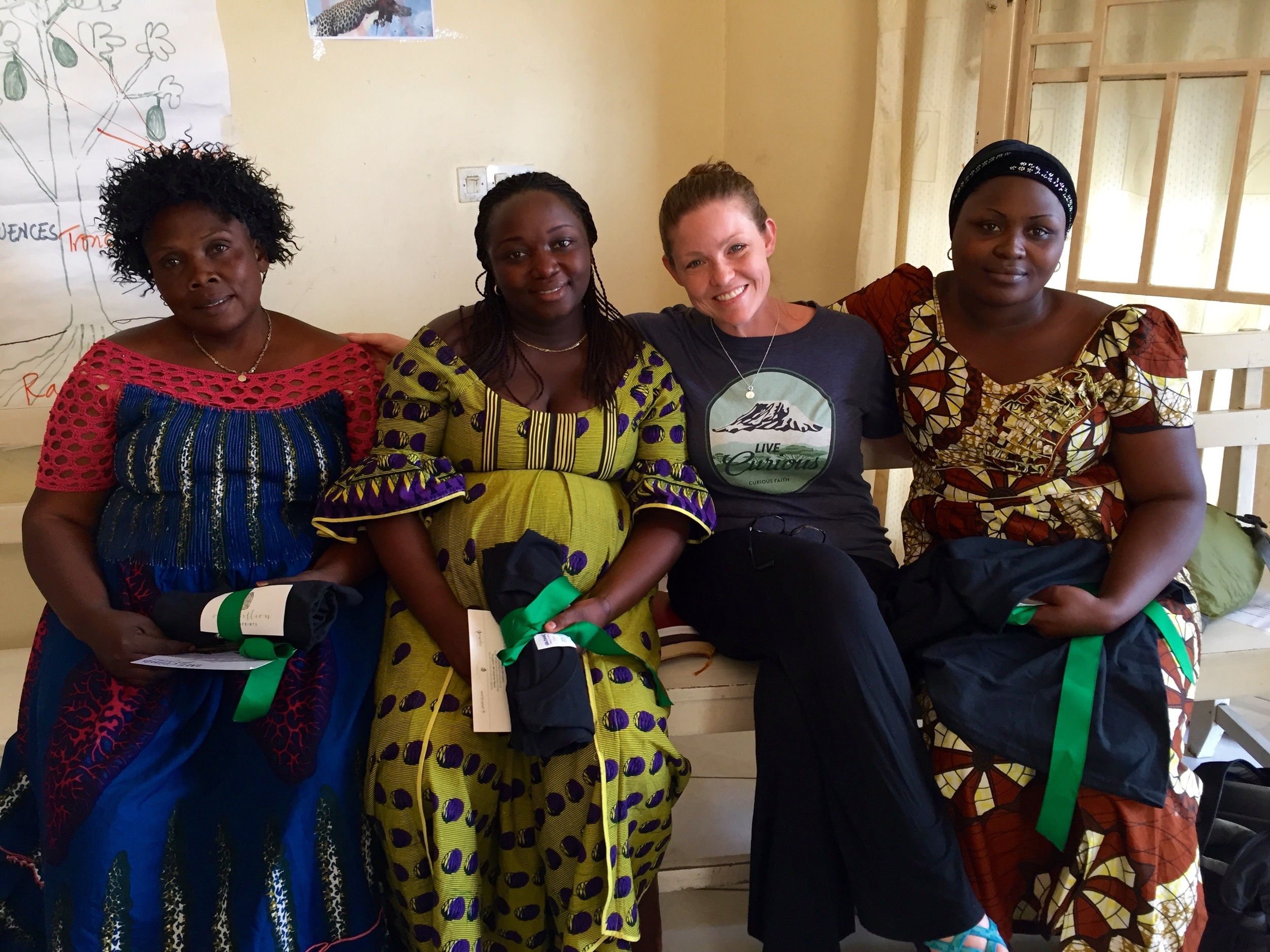 From left to right: Charlene (sexual-based violence group participant and leader), Dr. Esperance (serves patients dealing with HIV/AIDS and women undergoing fistula surgeries), Leia, and Alice (World Relief staff member).