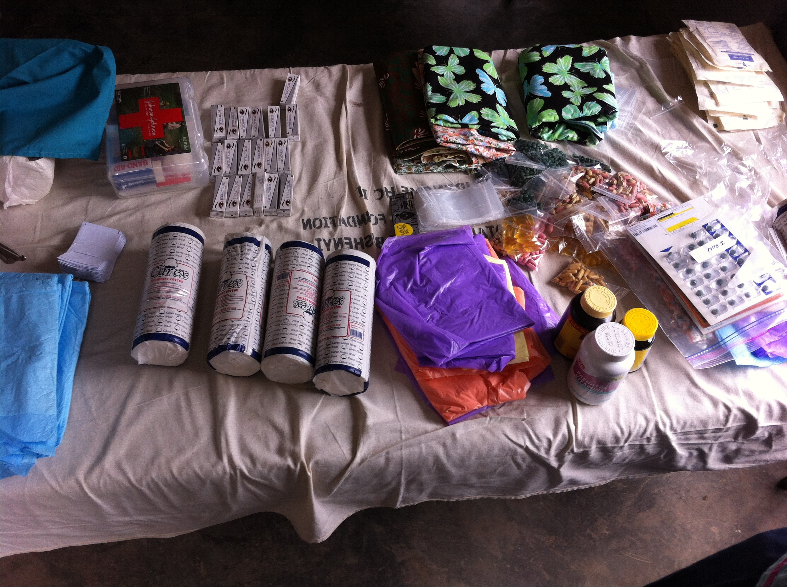 Some supplies used to build the mommy kits