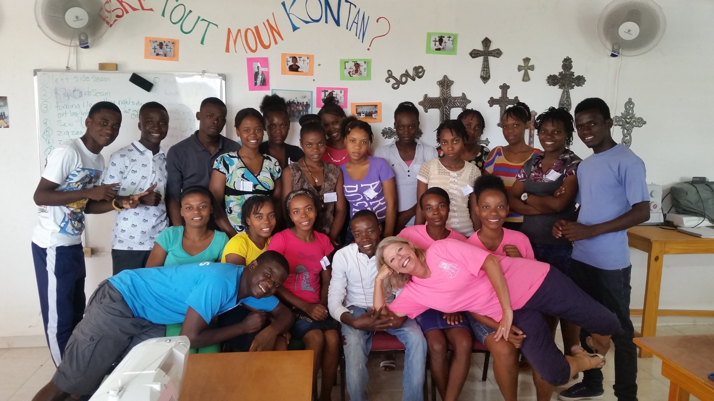 Sally with students from the sewing school