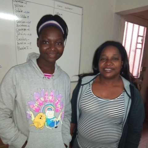 Leonor on the right with a program participant