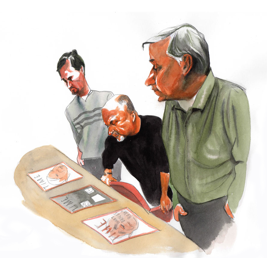 Illustrator Steve Brodner captured the cover selection process at TIME magazine. Flanking me are Executive Editor Steve Koepp, left, and Managing Editor Walter Isaacson.