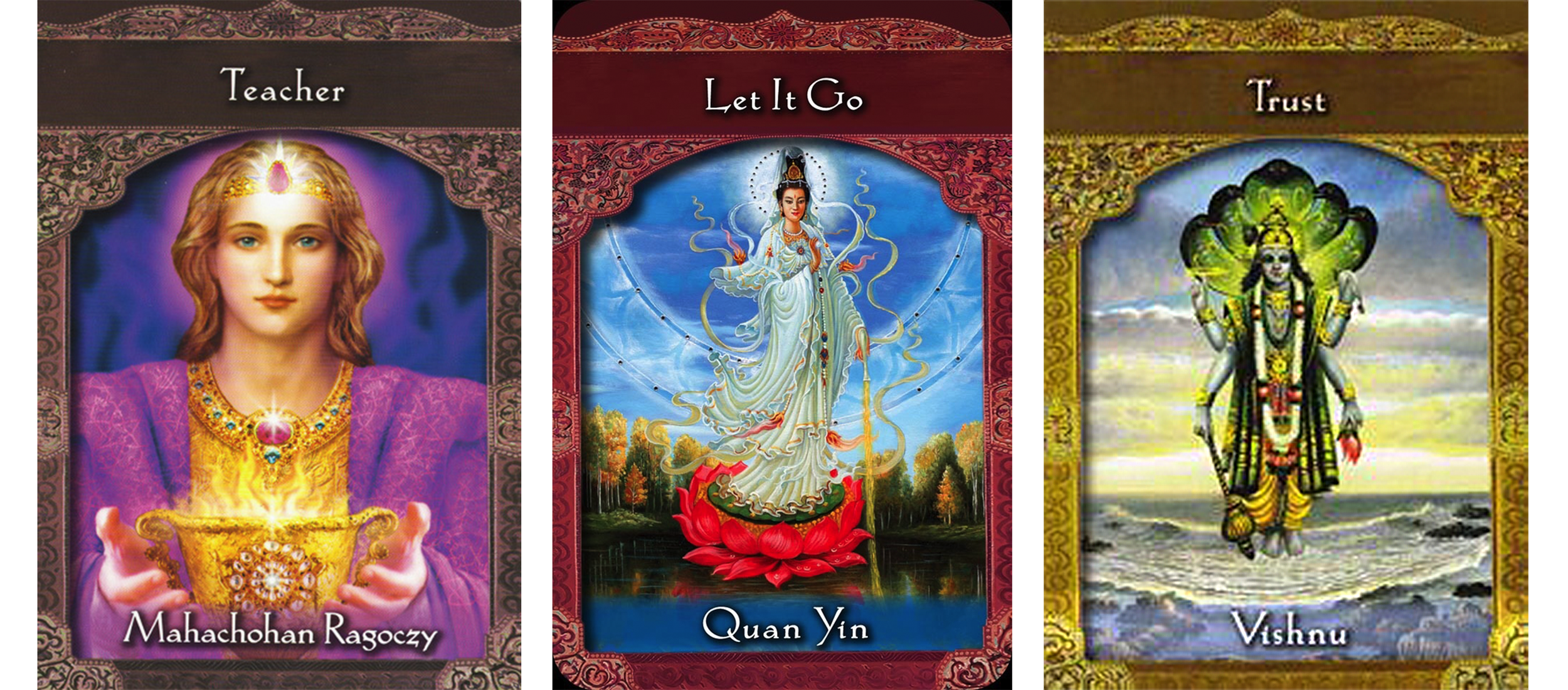 An ascened master three card divination layout: The Mahachohan Ragoczy indicating Teacher, Quan Yin pointing to Let It Go and Vishnu saying to Trust