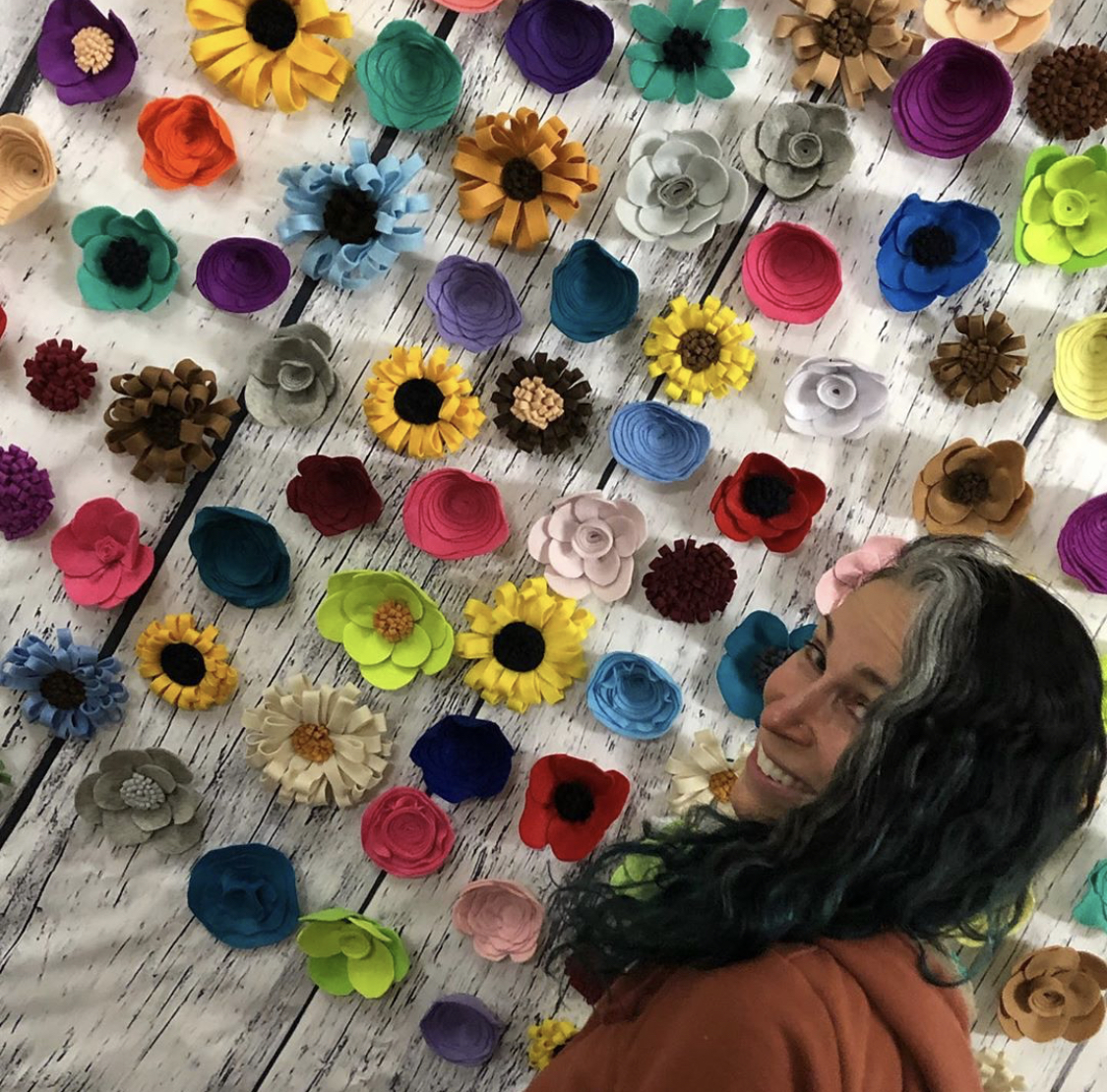 "A Shrine to Wallflowers - Kristen Alexandra Milano's installation of colorful handmade felt flowers invites the introverts among us—and everyone else as well—to snap a selfie.""I want to give spotlight to people who don't usually let themselves have any—wallflowers, the most interesting people in the room"" says Kristen, who sees this installation as the stepping stone to a larger version, possibly coming this fall.You can visit A Shrine to Wallflowers during 249 A Street's Spring Open Studios on the 2nd floor.Tag your Instagram posts #Wallflowers249 and add the location 249 A Street Cooperative"