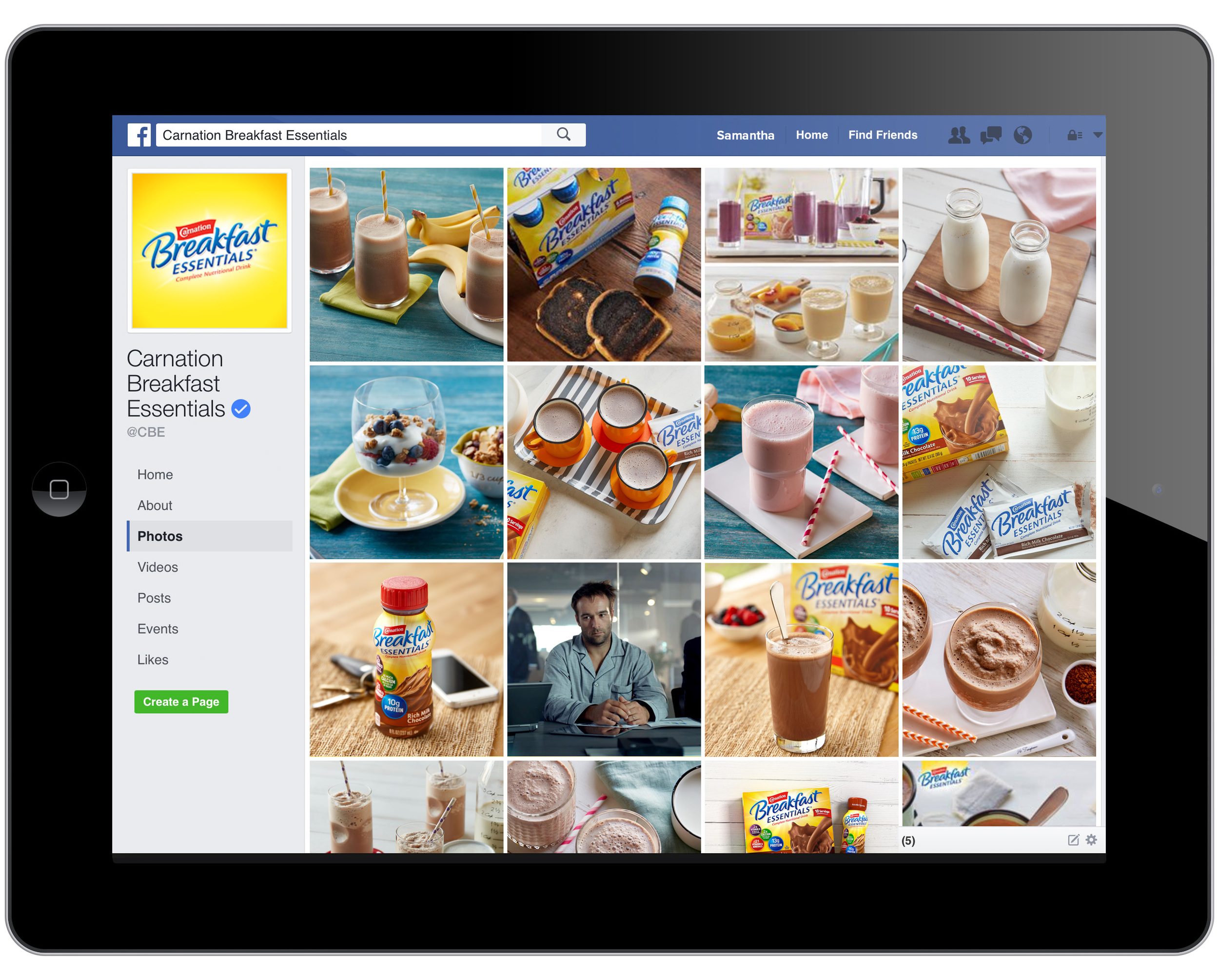 Updated Facebook presence featuring new food photography.