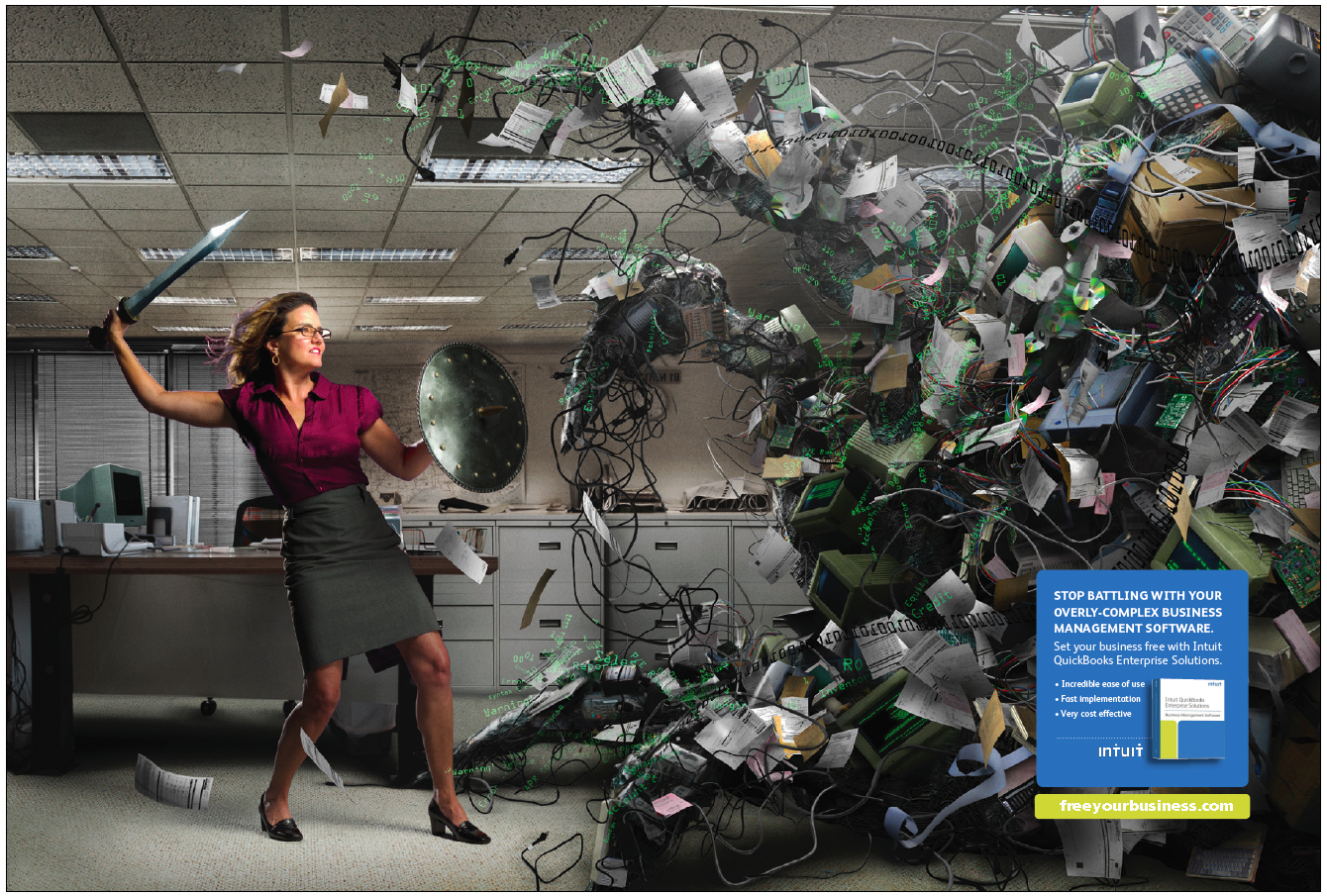 Double page spread print ad for Intuit Enterprise Solutions.