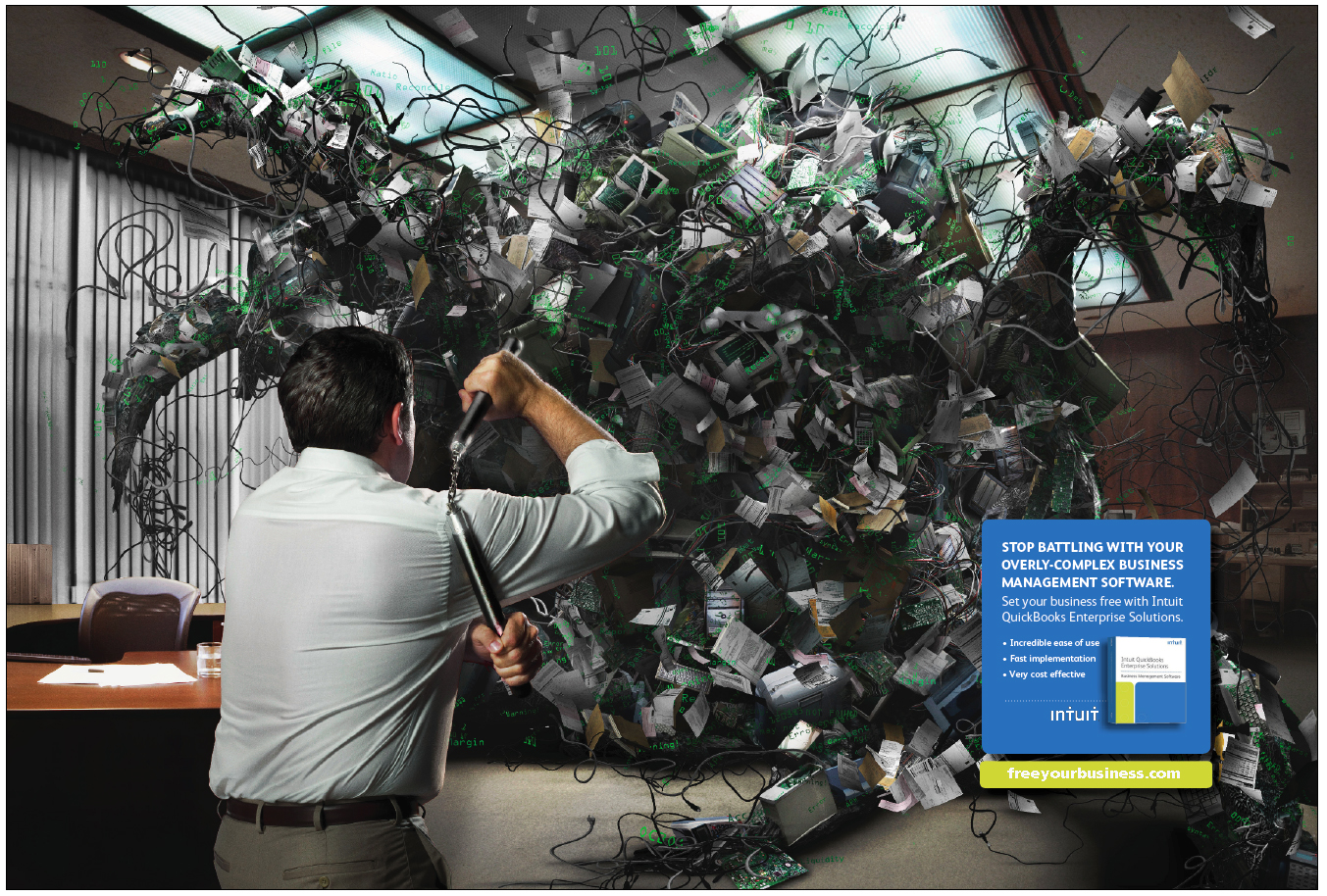 Magazine print spread for Intuit Enterprise Solutions software.