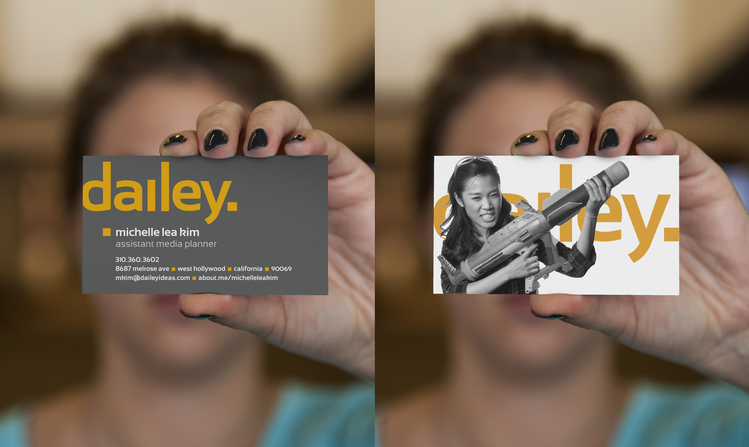 Two sided business cards that feature a fun biographical image on the back.