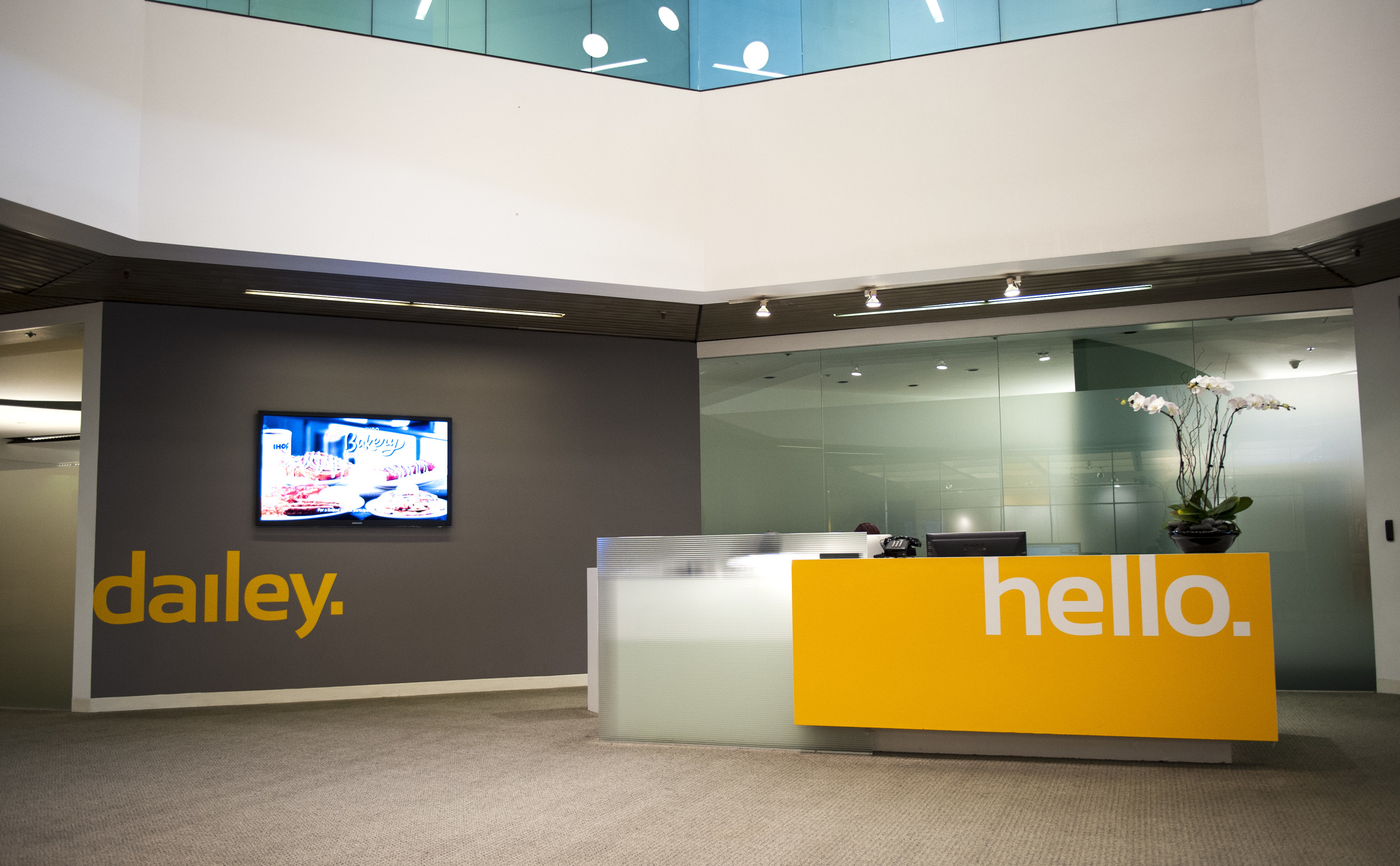 Main reception area was rebranded with new logo and color scheme.