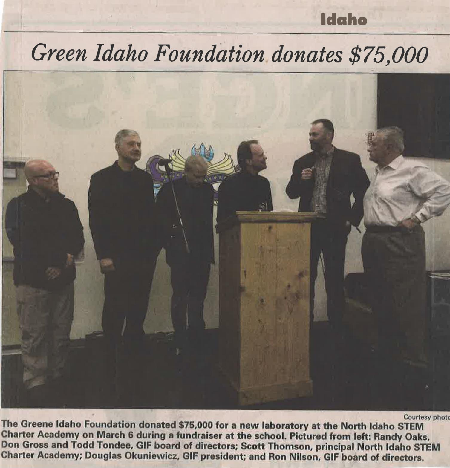 Greene Idaho $75,000 donation to STEM Charter Academy