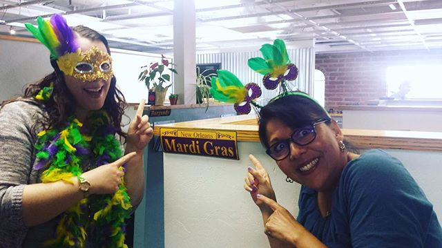 "Yesterday, our team took Fat Tuesday by storm with a Mardi Gras celebration for the books. We twirled down Bourbon street, ""masked"" around, and turned the office into a rollicking Southern celebration! Thanks to Carol for picking out some decor and snapping images of our par-tay!  #MardiGras #FatTuesday"