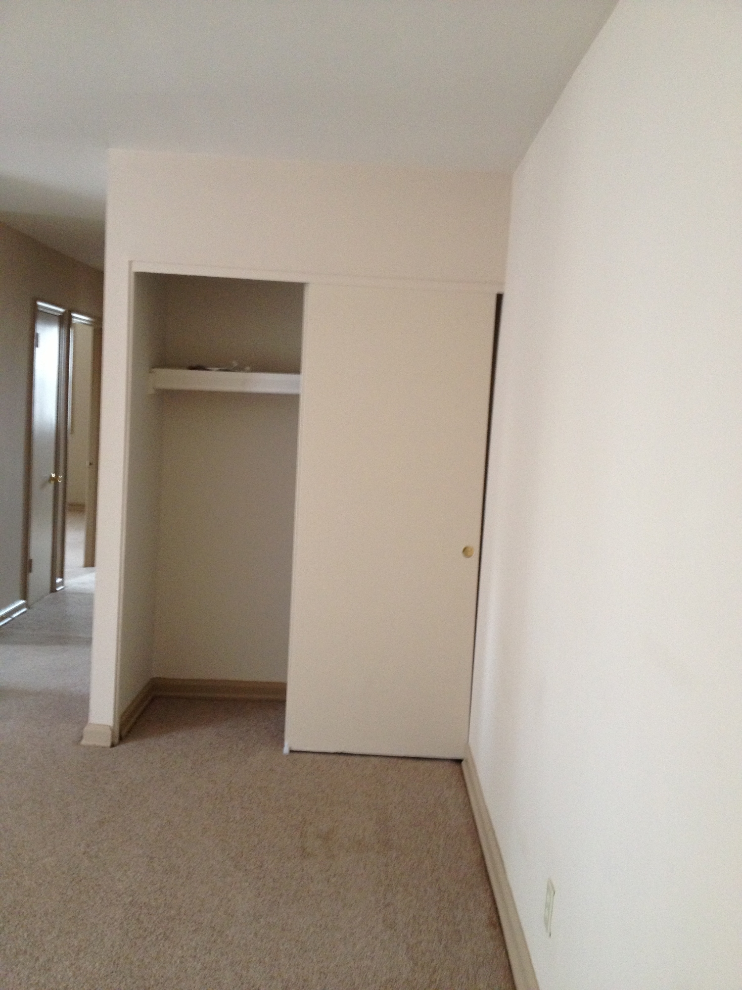 This large coat closet offers a generous amount of storage space.
