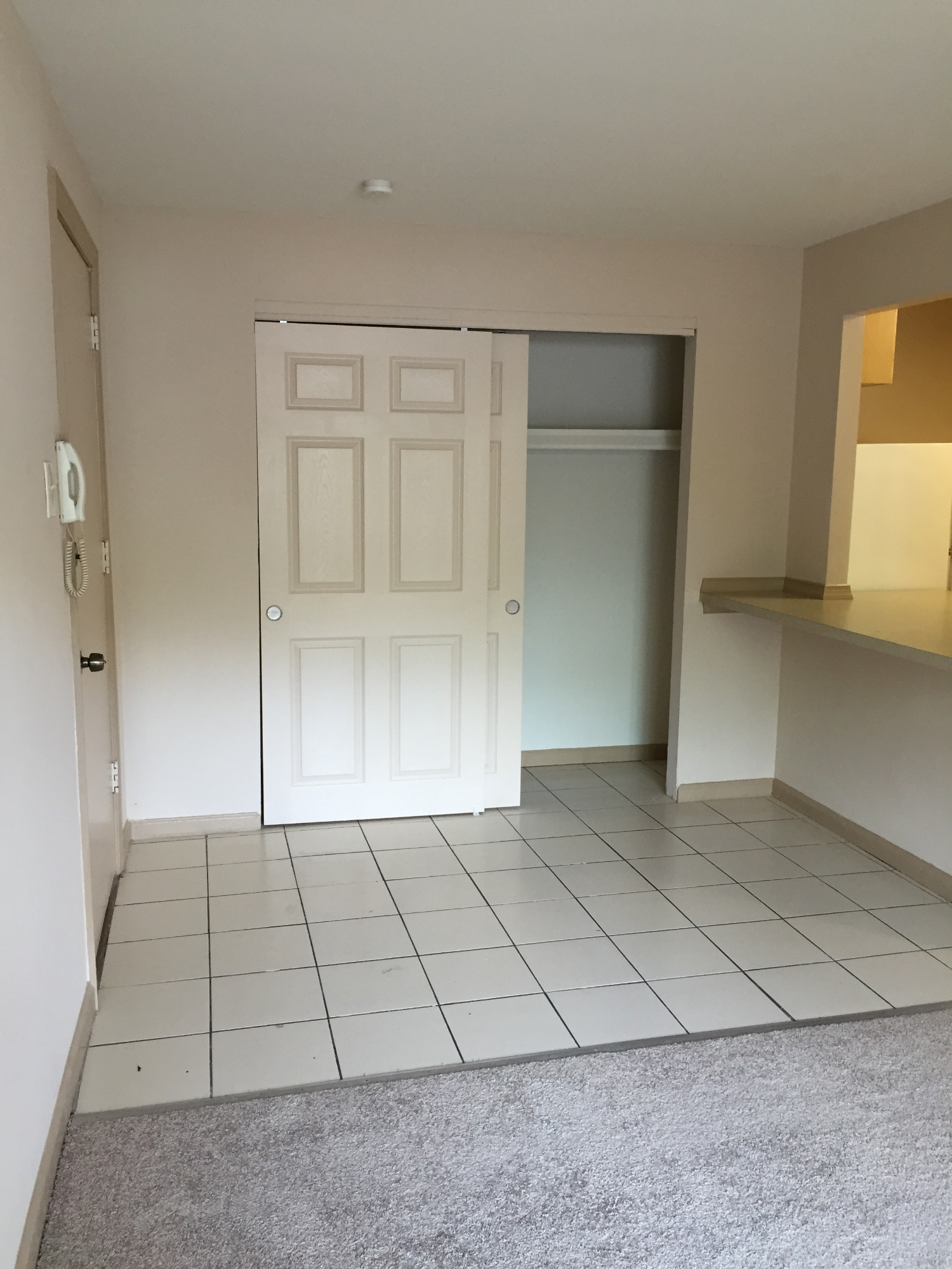 Not every apartment here looks exactly the same.Here is an example of another type of entrance space we offer.