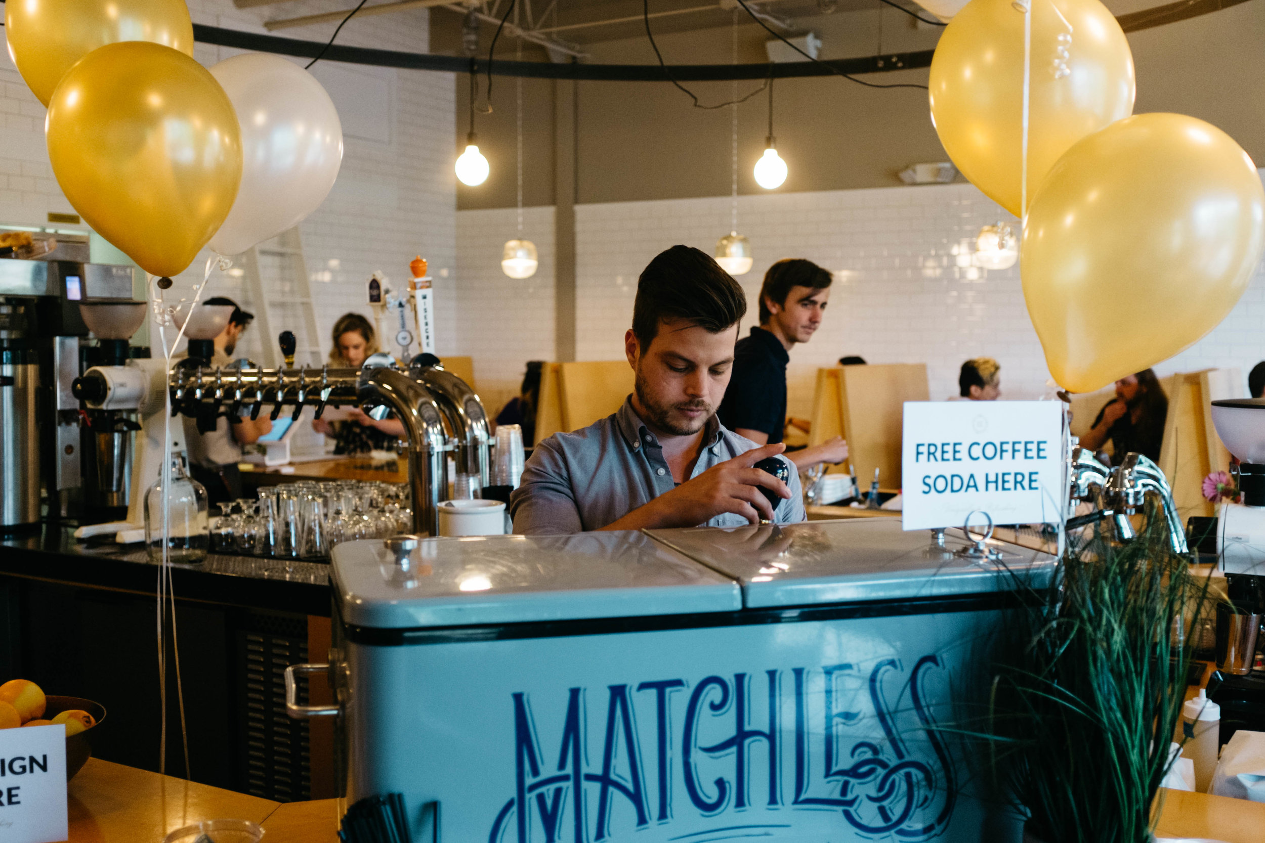 Nathanael Mehrens at the Kickstarter pledge party celebration at Steadfast Coffee.