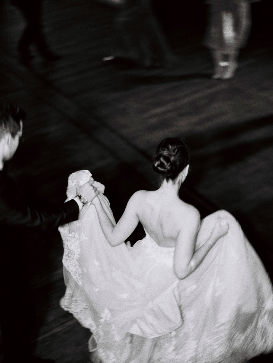 Glen Ewin Estate Wedding Bride Dancing Black and White photo by Adelaide wedding photographer Bentinmarcs