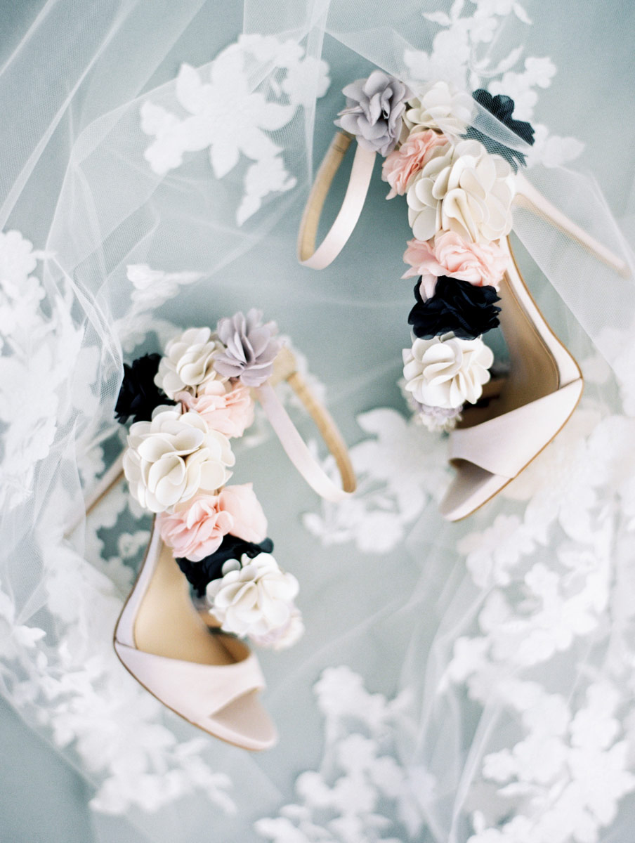 wedding shoes with flowers high heels on veil bridal shoes Adelaide