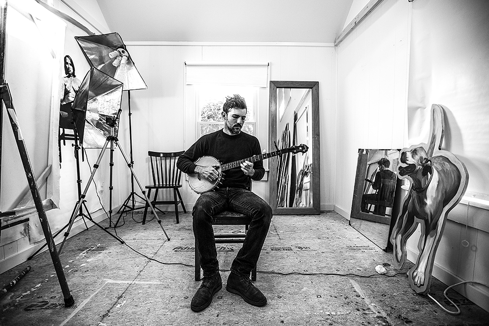 SCOTT AVETT INSIDE HIS PAINTING STUDIO