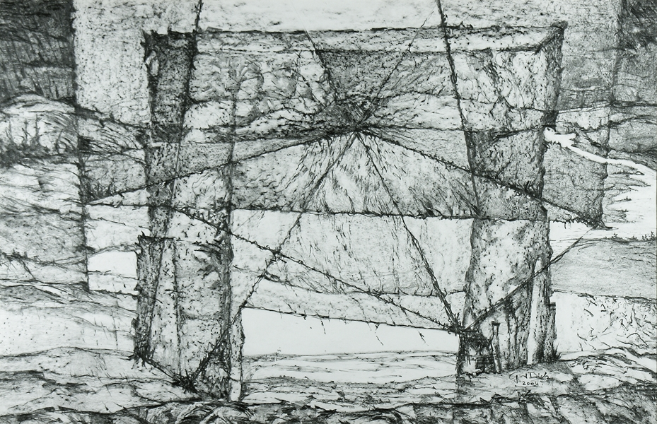 The Door of Time, 65cm x 100cm, Graphite on paper, $1300