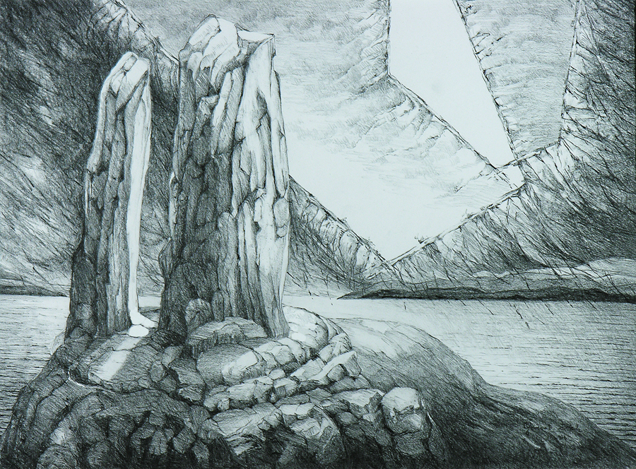 Spirit Rock, 69cm x 86cm, Graphite on Paper, $1300