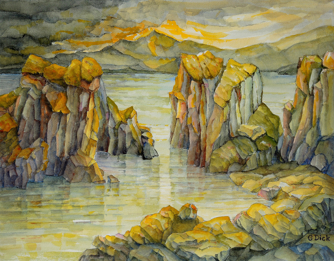 Evening Light in the Lagoon, 36cm x 45cm, Water Colore, $1,500