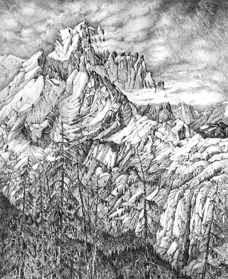 Devastater Peak, 77cm x 58cm, Graphite on Paper $1300