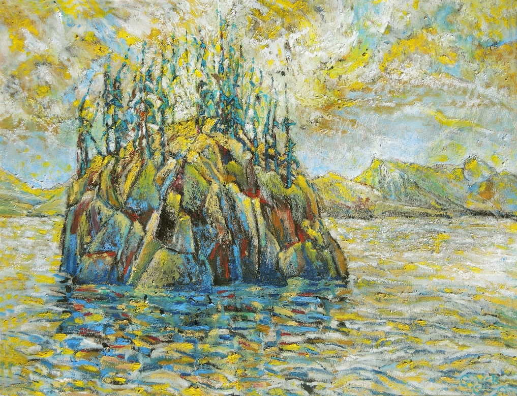 Haystag Island, 26cm x 33cm, Oil Stick, $1000