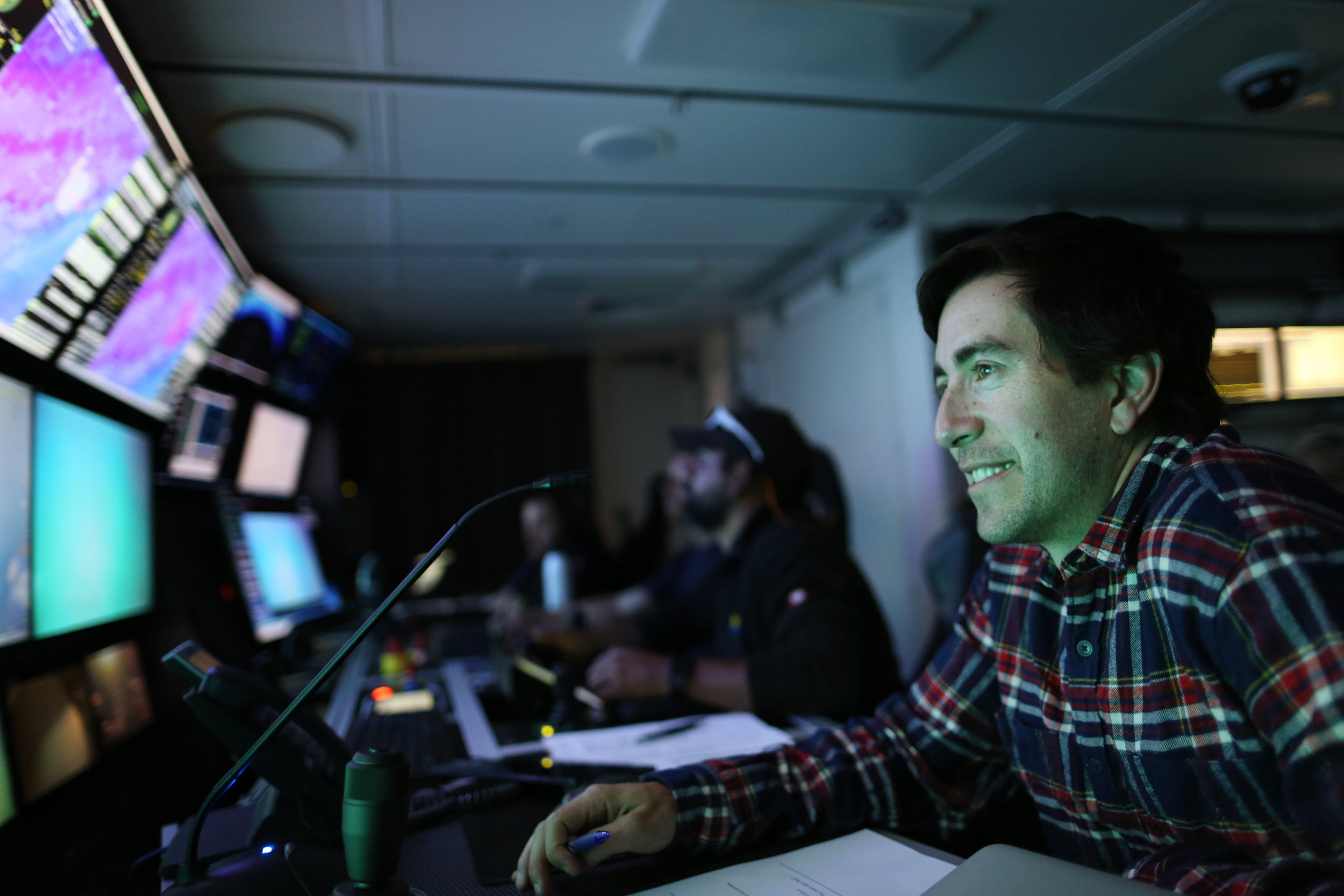 Jeffrey Marlow monitors livefeed from one of Remotely Operated Vehicle SuBastian's deployments in the Southern California Borderland.