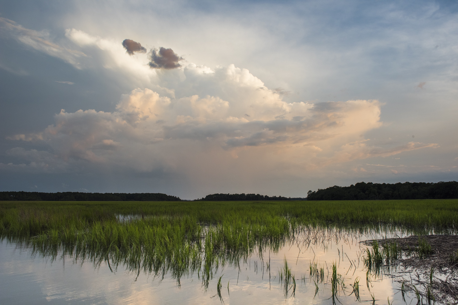Dramatic clouds over the marshes of Pinckney Island Wildlife Refuge.   M0715-3-4150