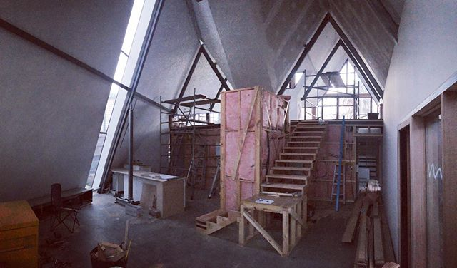 Ants Nest - stairs underway and the beginnings of joinery by @overendconstructions #house #aframe #australianarchitecture #architecture #interiordesign