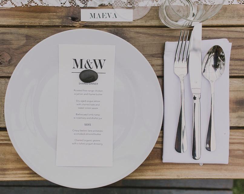 Dinner plate, table fork, table knife, dessert spoon. -