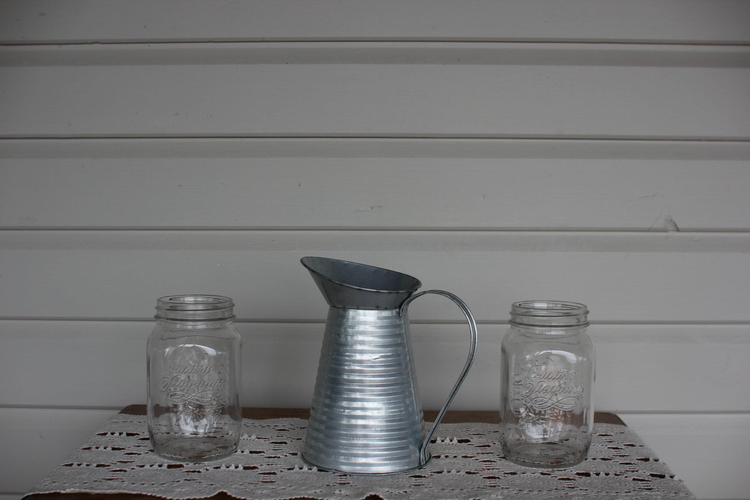 Large storage jars + Rustic Tin Metal Pitcher. -