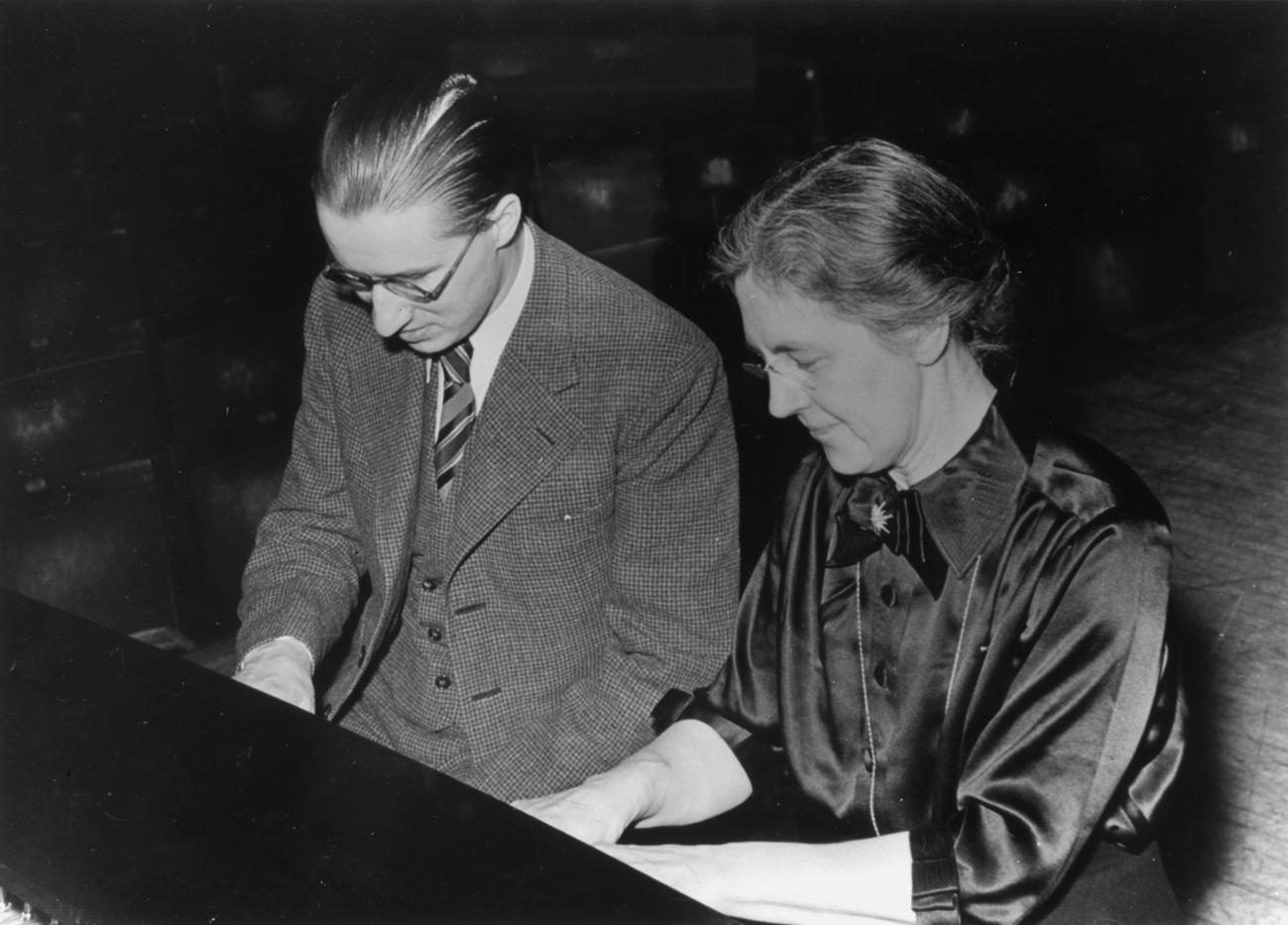 Francaix with his teacher, Nadia Boulanger.