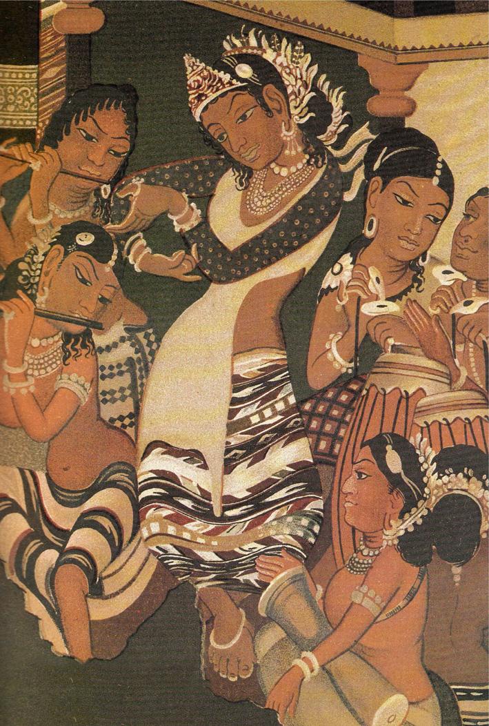 Lady wearing bandhani blouse, Ajanta wall paintings. Image © V & A Museum, London