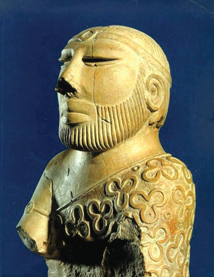 Nothing has come to symbolize the Indus Valley Civilization better than the so-called Priest King from Mohenjo-Daro. The figure is wrapped in a robe-like cloth from its left shoulder under its right arm, and is covered in a trefoil design.