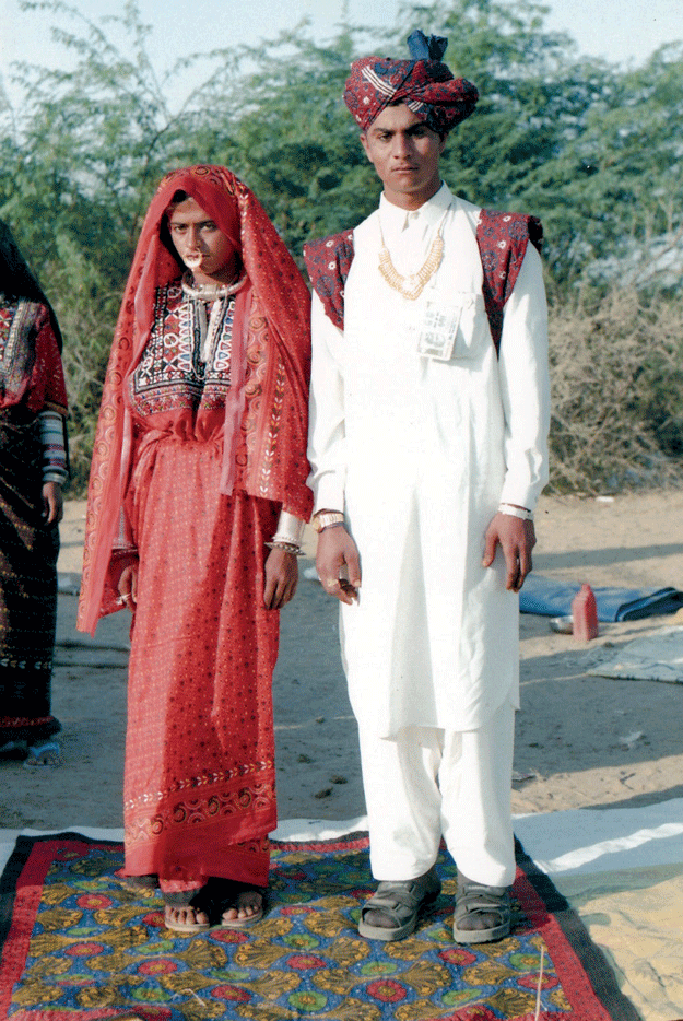 A Jat Maldhari groom with a traditional Ajrakh turban and shoulder cloth